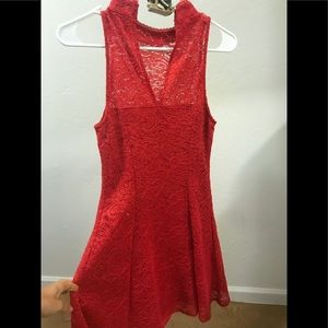 Red GUESS brand Heidi lace dress.